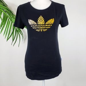 Adidas Trefoil T-Shirt Black Cheetah Small